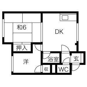第三美和ハウス(102)の間取り図