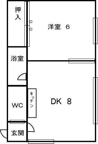 ワトミ1号館(5号室)の間取り図