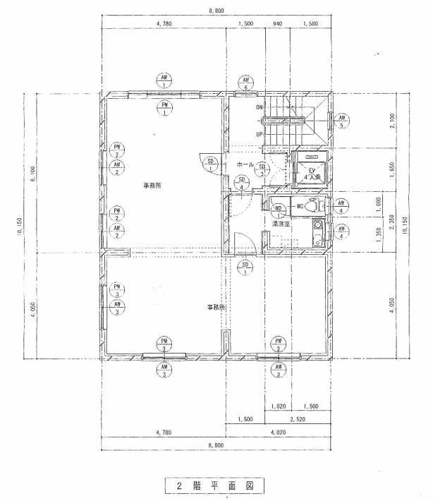 山根ビル(2F)の平面図