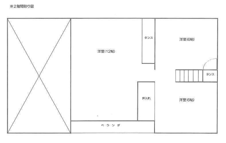 札幌市白石区菊水元町の貸一戸建2階間取り図