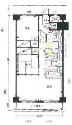 ライオンズマンション中の島(1004)の間取り図